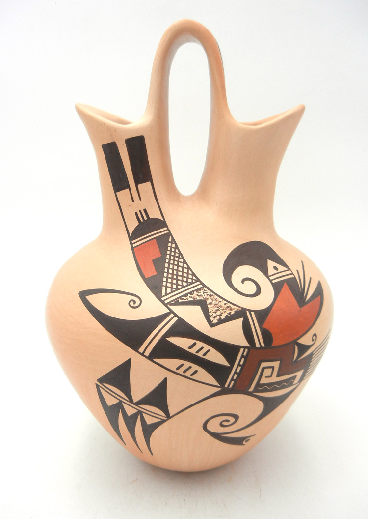 Hopi traditional handmade and hand painted bird design jar by Agnes Setalla
