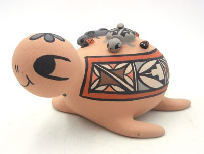 Jemez turtle figurine with small turtles and lady bugs by Chrislyn Fragua