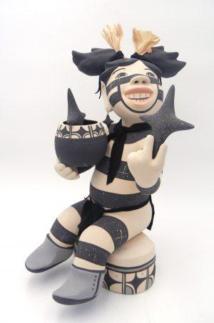 Jemez handmade and hand painted koshare star gazer figurine by Kathleen Wall