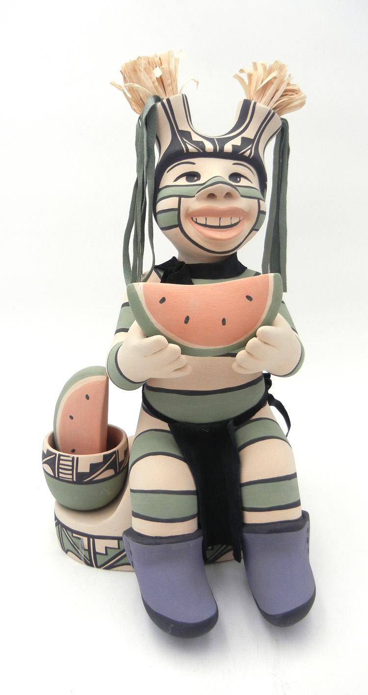 Jemez seated koshare figurine with watermelon by Kathleen Wall