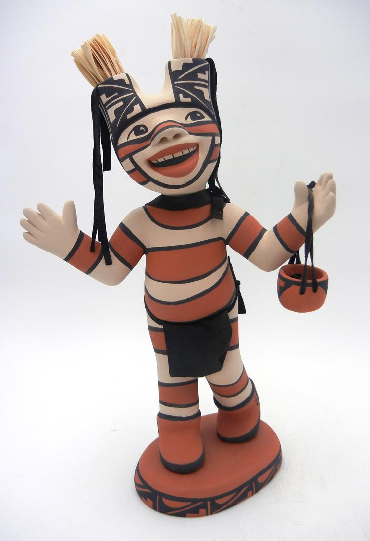 Jemez standing koshare figurine with basket by Kathleen Wall