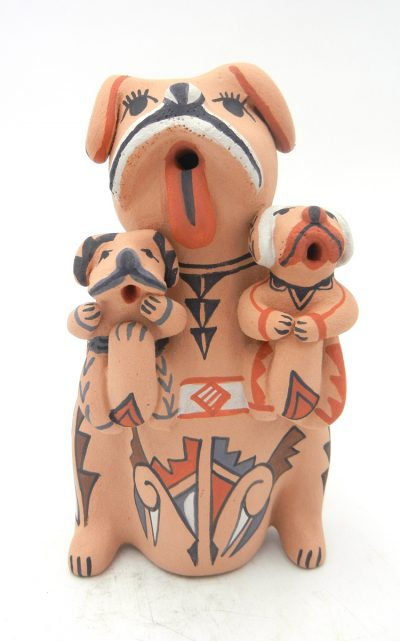 Jemez standing dog storyteller figurine with two puppies by Emily Fragua Tsosie