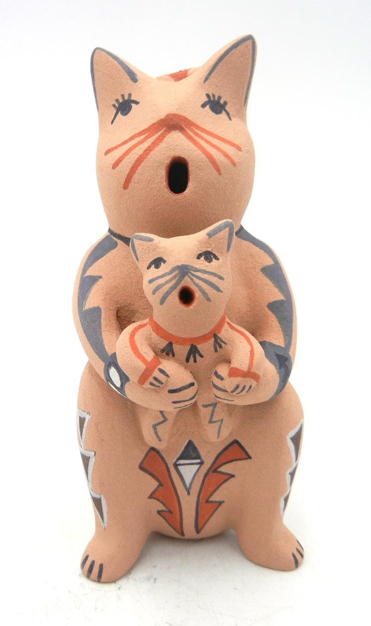 Jemez standing cat storyteller figurine by Emily Fragua Tsosie