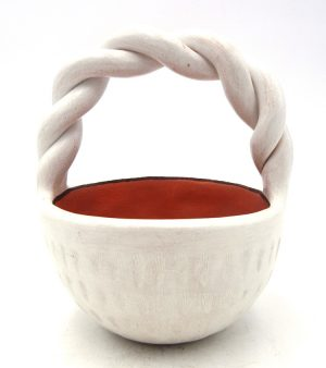 Laguna handmade white clay basket with twisted handle by Andrew Padilla