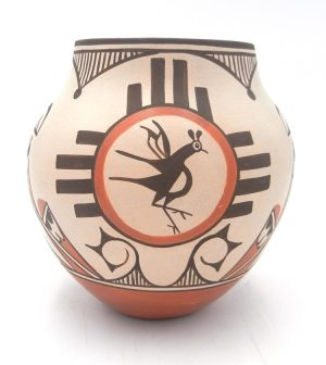 Zia traditional Zia symbol and bird design jar by Elizabeth and Marcellus Medina