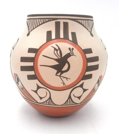 Zia traditional Zia symbol and bird design jar by Elizabeth and Marcellus Medina