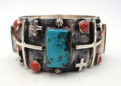 Navajo sterling silver applique, turquoise and coral bangle bracelet