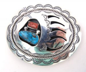 Navajo sterling silver, turquoise and coral shadowbox style bear paw belt buckle by Wilbert Muskett