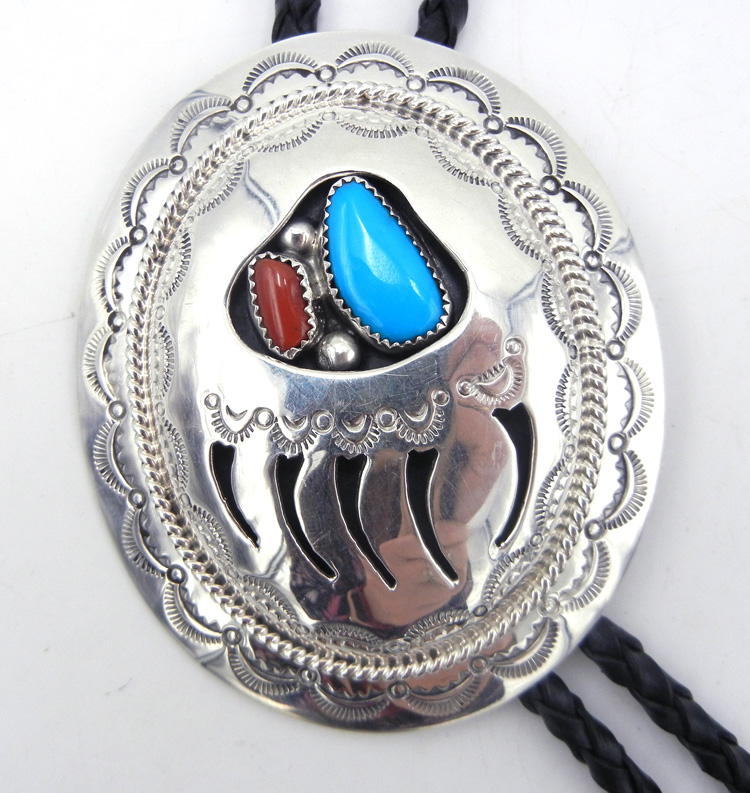 Navajo sterling silver shadowbox style bear paw bolo tie with turquoise and coral