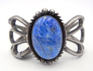 Navajo denim lapis and sandcast sterling silver cuff bracelet