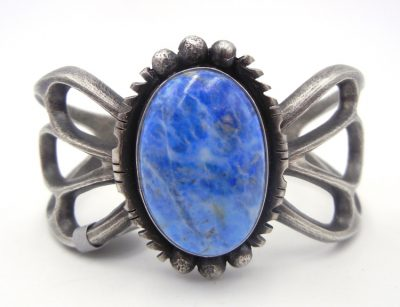 Navajo denim lapis and sandcast sterling silver cuff bracelet