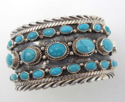 Navajo sterling silver and turquoise triple row cuff bracelet