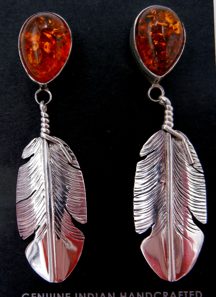 Navajo amber and sterling silver feather dangle earrings by Ben Begay