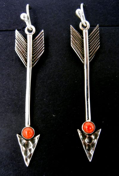 Navajo sterling silver and coral arrow dangle earrings