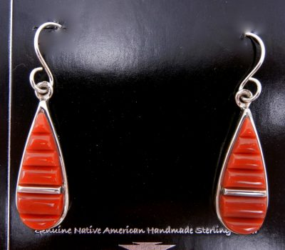 Navajo coral and sterling silver cornrow inlay dangle earrings by Rick Johns