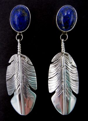 Navajo lapis and sterling silver feather dangle earrings by Ben Begay