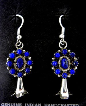 Navajo lapis and sterling silver squash blossom dangle earrings by Nate Curley