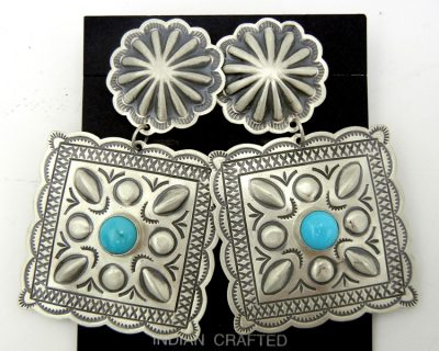 Navajo sterling silver and turquoise concho style dangle earrings by Harris Joe