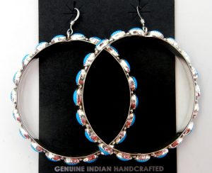 Navajo turquoise and sterling silver large circle dangle earrings