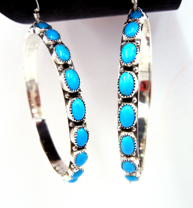 Navajo large turquoise and sterling silver circle dangle earrings