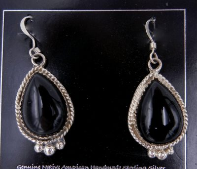 Navajo black onyx and sterling silver dangle earrings