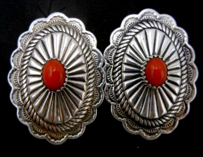 Navajo sterling silver and coral concho style earrings