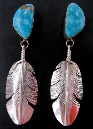Navajo turquoise and sterling silver feather dangle earrings by Ben Begay