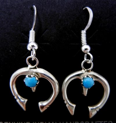Navajo small sterling silver and turquoise naja dangle earrings
