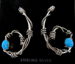Navajo contemporary sterling silver and turquoise twisted rope pattern earrings