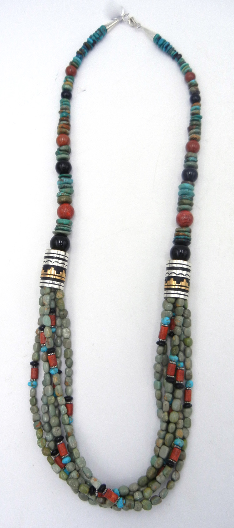 Navajo green turquoise, multi-bead, sterling silver and gold fill overlay necklace by Rosita Singer