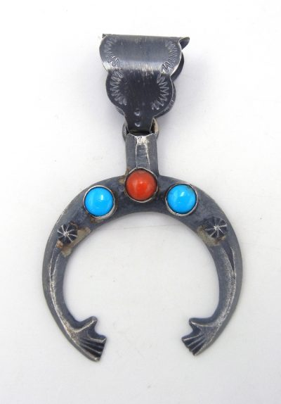 Navajo brushed sterling silver, turquoise and coral naja pendant