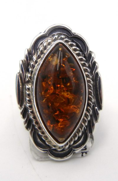 Navajo amber and sterling silver ring