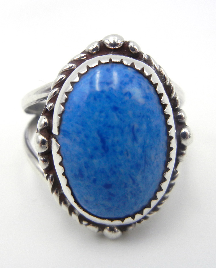 Navajo denim lapis and sterling silver ring