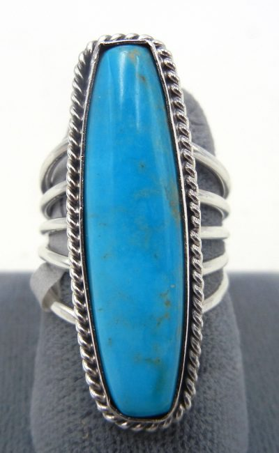 Navajo elongated turquoise and sterling silver ring