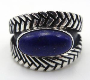 Navajo lapis and sterling silver contemporary ring