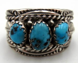 Navajo three stone turquoise and sterling silver ring