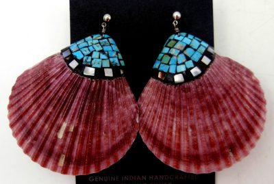 Santo Domingo shell and multi-stone inlay earrings