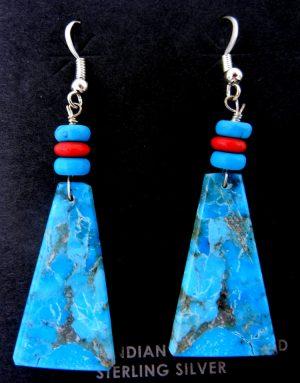 Santo Domingo turquoise slab and multi-bead earrings