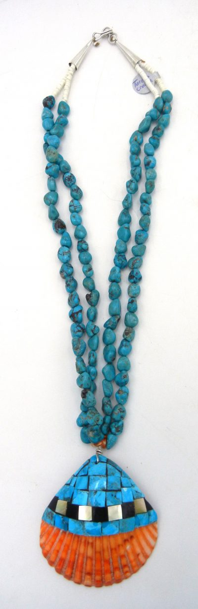 Santo Domingo turquoise, multi-stone inlay and shell necklace by Torevia Crespin