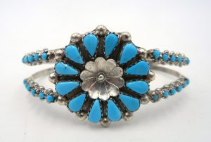 Zuni Sleeping Beauty turquoise petit point, rosette, and sterling silver cuff bracelet