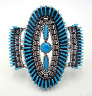 Zuni Sleeping Beauty turquoise needlepoint and sterling silver cuff bracelet by Edmund Cooeyate