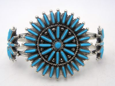 Zuni Sleeping Beauty turquoise needlepoint and sterling silver rosette cuff bracelet