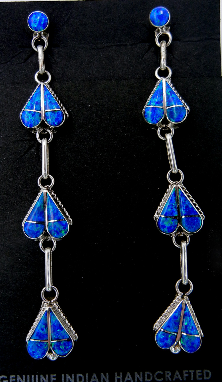 Zuni blue lab opal and sterling silver inlay dangle earrings
