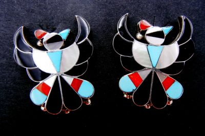 Zuni multi-stone inlay and sterling silver thunderbird earrings