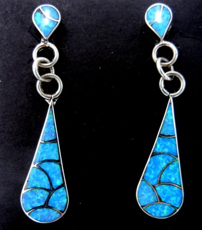 Zuni blue lab opal and sterling silver inlay dangle earrings by Lynette Johnson