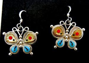 Zuni multi-stone inlay and sterling silver butterfly dangle earrings by Leagus Ahiyite