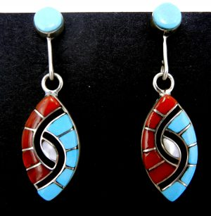 Zuni multi-stone inlay and sterling silver hummingbird pattern dangle earrings by Amy Quandelacy