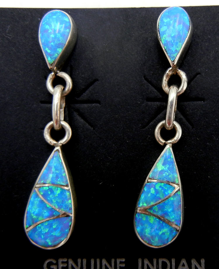 Zuni blue lab opal and sterling silver inlay small dangle earrings by Orlinda Natewa