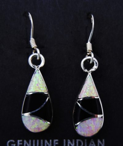 Zuni pink lab opal, jet, and sterling silver inlay small dangles by Orlinda Natewa