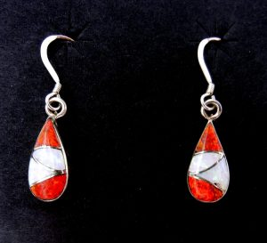 Zuni red and white lab opal and sterling silver inlay dangle earrings by Orlinda Natewa